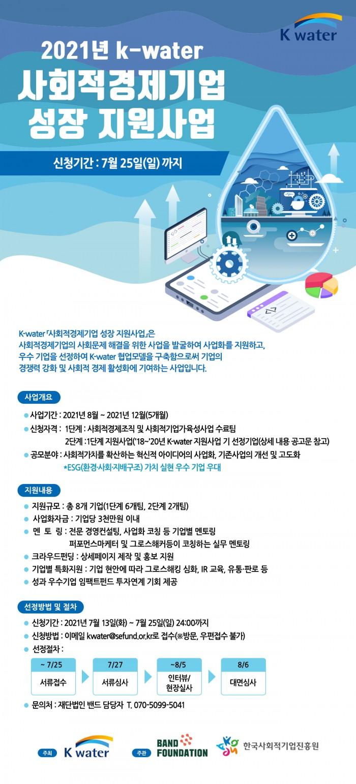 2021년 k-water 사회적경제기업 성장 지원사업 웹포스터